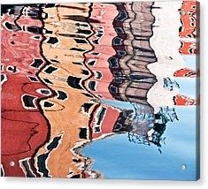 Burano Venice Italy Photograph Blue White Orange Wall Art Acrylic Print by Artecco Fine Art Photography