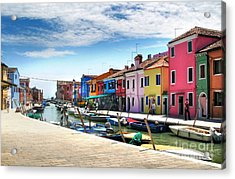 Burano Island Canal Acrylic Print by Gregory Dyer