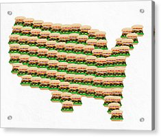 Burger Town Usa Map White Acrylic Print by Andee Design