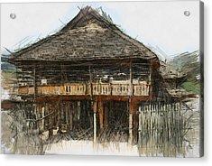 Burmese Village House 1 Acrylic Print by Fran Woods