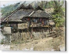 Burmese Village House 2 Acrylic Print by Fran Woods