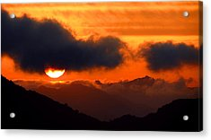 Burning Sunset  Acrylic Print by Catherine Natalia  Roche