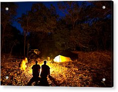 Bush Camp At Midway Waterhole Acrylic Print by Johnny Haglund