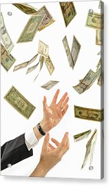 Businessman's Hands Trying To Catch Us Dollars Acrylic Print by Sami Sarkis