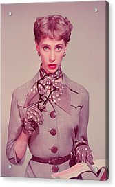 Businesswoman Holding Glasses And Chequebook, Portrait Acrylic Print by Hulton Archive