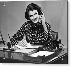Businesswoman On Telephone Acrylic Print by George Marks