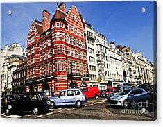Busy Street Corner In London Acrylic Print by Elena Elisseeva