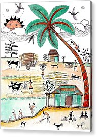 Busy Warli Day Acrylic Print