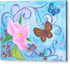 Butterflies And Flowers Acrylic Print by Denise Hoag