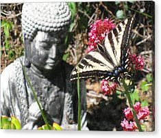 Acrylic Print featuring the photograph Butterfly And Buddha by Sue Halstenberg