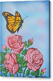 Butterfly And Roses Acrylic Print by Margaret Stoller