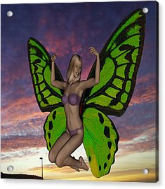 Butterfly Woman Acrylic Print by Matthew Lacey