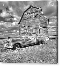 Acrylic Print featuring the photograph Bw - Rusty Old Cadillac by Peter Ciro