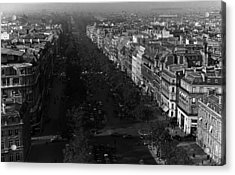 Bw France Paris Champs Elysees Avenue 1970s Acrylic Print by Issame Saidi