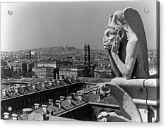 Bw France Paris Notre Dame Cathedral The Thinker 1970s Acrylic Print by Issame Saidi