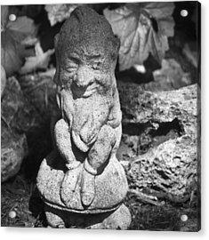 Bw Garden Gnome Squared Acrylic Print