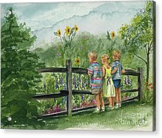 Acrylic Print featuring the painting By The Garden Fence  by Nancy Patterson
