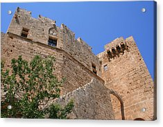 Byzantine Fortress At Lindos Acrylic Print by Laurel Talabere
