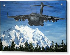 C-17 And Mt. Rainier Acrylic Print