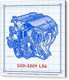 C5 2001 - 2004 Ls6 Z06 Corvette Engine Blueprint Acrylic Print