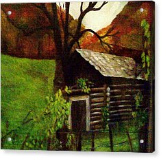 Acrylic Print featuring the painting Cabin By A Hillside by Christy Saunders Church