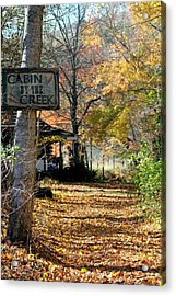 Acrylic Print featuring the photograph Cabin By The Creek by Laurinda Bowling
