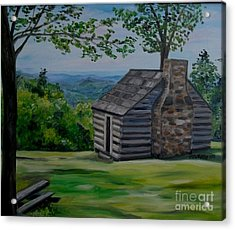 Acrylic Print featuring the painting Cabin On The Blue Ridge Parkway In Va by Julie Brugh Riffey