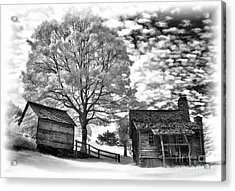Cabin Under Buttermilk Skies Vignette Acrylic Print by Dan Carmichael