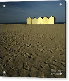 Cabins On A Beach In Normandy Acrylic Print by Bernard Jaubert