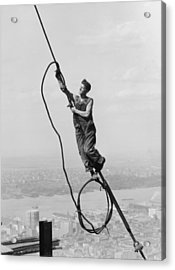 Cable Connection Acrylic Print by Lewis W Hine