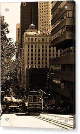 Cablecar On San Francisco California Street . Sepia . 7d7176 Acrylic Print by Wingsdomain Art and Photography