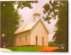 Cade's Cove Church Acrylic Print by Chris Gafford