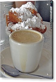 Cafe Au Lait And Beignets Acrylic Print by Helen Haw