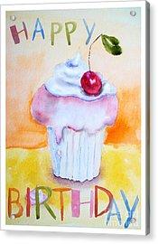 Cake With Insription Happy Birthday Acrylic Print