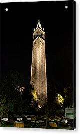 Cal Sather Tower Lights Up The Night Acrylic Print by Replay Photos