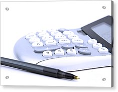 Calculator And Pen Acrylic Print by Blink Images