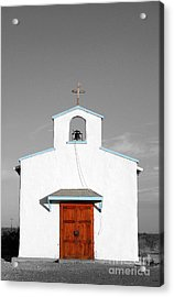 Calera Mission Chapel Facade In West Texas Color Splash Black And White Acrylic Print by Shawn O'Brien