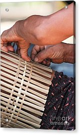 Acrylic Print featuring the photograph Cambodian Basket Weaver by Nola Lee Kelsey