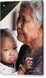 Acrylic Print featuring the photograph Cambodian Grandmother And Baby #1 by Nola Lee Kelsey