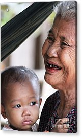 Acrylic Print featuring the photograph Cambodian Grandmother And Baby #2 by Nola Lee Kelsey
