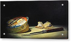 Camembert Knife And Crackers Acrylic Print by Jeffrey Hayes