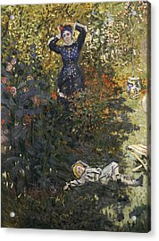 Camille And Jean In The Garden At Argenteuil  Acrylic Print by Claude Monet