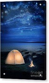 Camping Tent By The Lake At Night Acrylic Print by Jill Battaglia