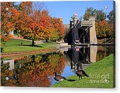 Canada Geese At Lift Lock Acrylic Print