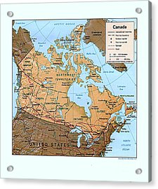 Canada Relief Map Acrylic Print by Pg Reproductions