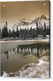 Canadian Rocky Mountains Dusted In Snow Acrylic Print by Tim Fitzharris