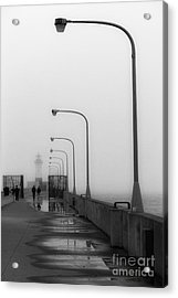 Canal Park Lighthouse In Fog Acrylic Print by Mark David Zahn