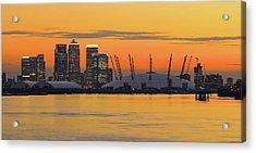 Canary Wharf At Sunset Acrylic Print by Photography Aubrey Stoll