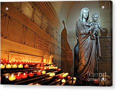 Candles And Virgin Mary With Infant Acrylic Print by Sami Sarkis