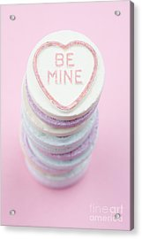 Candy With Be Mine Written On It Acrylic Print by Neil Overy